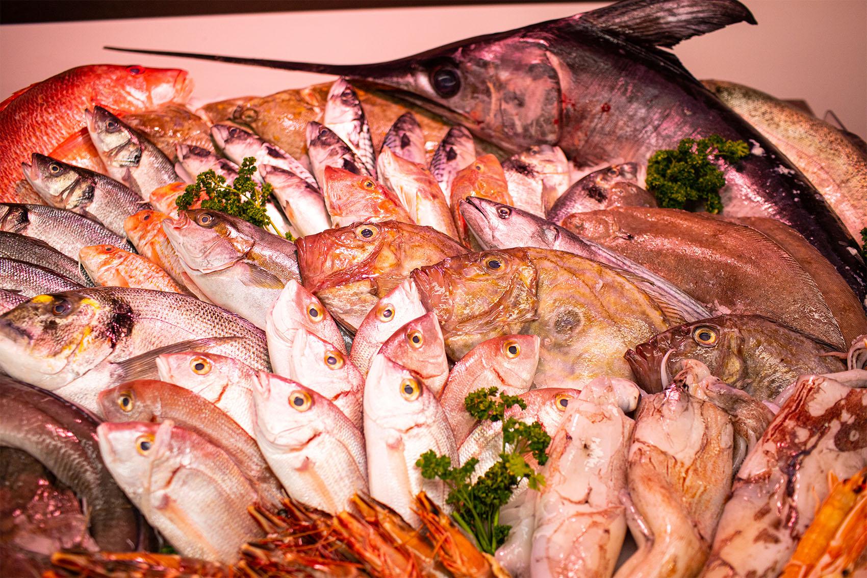 A wide range of fresh fish
